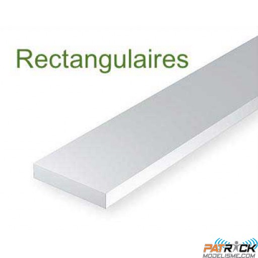 100-Evergreen 10 Baguettes rectangulaires 355x0,25x0,50mm