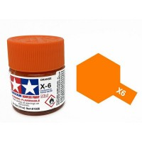 Pot de peinture acrylique Tamiya X-6 Orange brillant 10ml